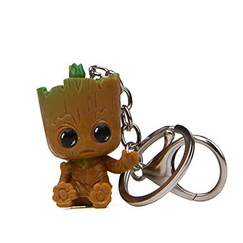 Porte-clé en forme de pot de fleur pour bébé Groot, Position assise, S