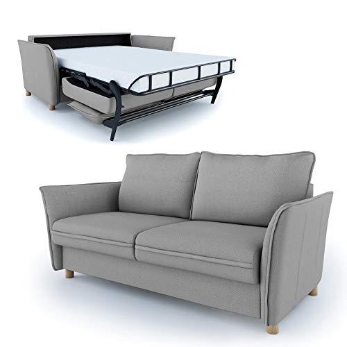 place to be. Schlafsofa 140 cm breit mit Bettkasten 2 Sitzer Sofa mit Schlaffunktion ausklappbar Bettsofa Gästebett Hellgrau Eiche massiv