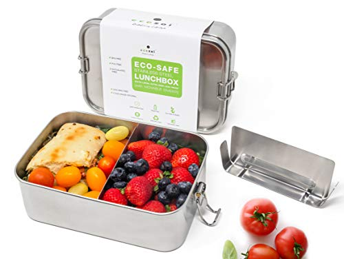 Ecozoi Stainless Steel Eco Lunch Box With Removable Divider  Metal Bento Box 1-tier Extra Large Leak Proof  Zero Waste Food Storage Container