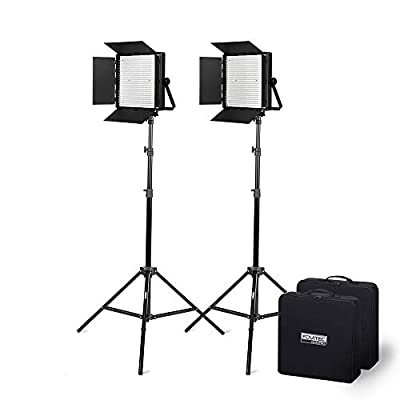 Fovitec - Portable 2-Light 600 LED Bi-Color Panel Kit for Video & Photo with DMX, V-Lock Mount, Case, and Stands