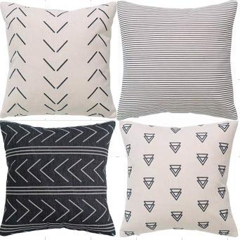 Set of 4 Pillow Covers Throw Pillow Covers Modern Design Stripes Geometric Cotton Linen Cushion Covers Neutral Decorative Pillow Covers for Sofa Couch Chair 18 x 18 inch