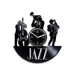 Clock Jazz Xmas For Musician Jazz Vinyl Wall Clock Music Genre Wall Clock Vintage Jazz For Man Music Vinyl Record Clock Musical Instruments Wall Clock Modern