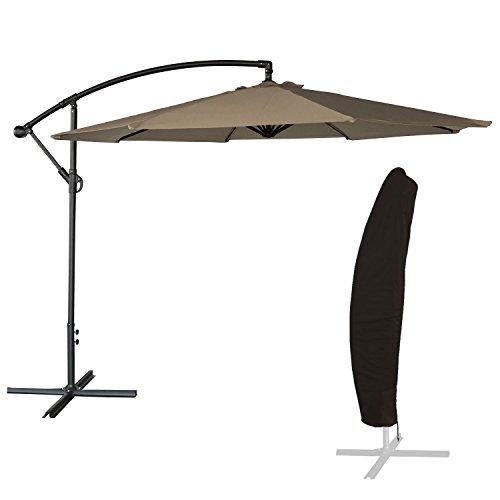 BENEFFITO OAHU - Parasol Déporté Rond Diamètre 3 mètres Inclinable - Acier - Housse de Rangement - Protection UV - Ouverture Facile
