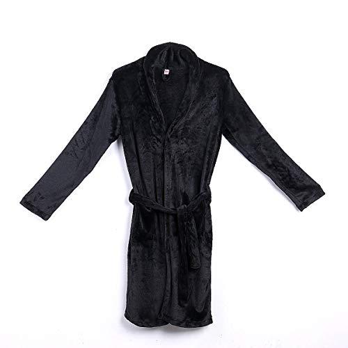 Mens Warm Super Soft Flanel Coral Fleece Long Badrobe Mens Kimono Badjas Male badjas Badjassen (Color : Black, Size : XXL)
