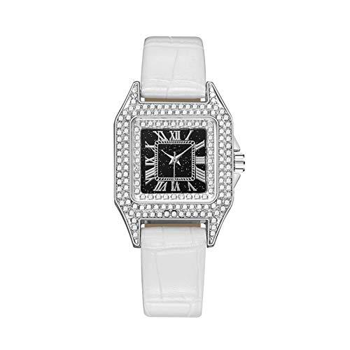 Relojes de diamantes de las mujeres, mujer Reloj de pulsera de cuarzo de moda con banda de acero inoxidable y cuero de la PU, relojes elegantes de las mujeres regalos de reloj de pulsera de negocios P