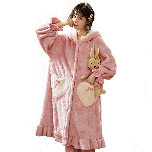 Pijamas Otoño E Invierno Franela Mujer Túnica De Engrosamiento Peluda Albornoz Linda Fleece De Coral Túnica Larga (Color : Pink, Size : SG)