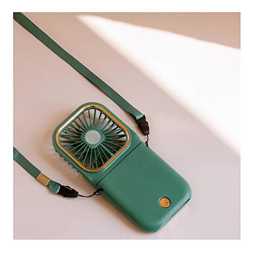 Mini Ventilador de Mano Electric, Portátil 3000mah Tercer Ajuste de Marcha Ventilador de Cuello Colgante Portátil 180 ° se Puede Plegar para el Cuello para Viajes de Oficina en casa ( Color : Green )