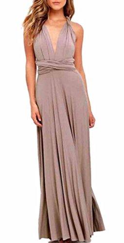 EMMA Damen Sexy Elgant V-Ausschnitt Rückenfrei Gefaltet Plisse Abendkleider Schulterfrei Cocktailkleid Abschluss Bandage Rücken Kreuz, M, Khaki