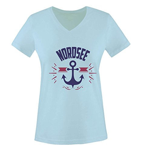 Comedy Shirts - NORDSEE - Anker - Damen V-Neck T-Shirt - Hellblau/Lila-Fuchsia Gr. L