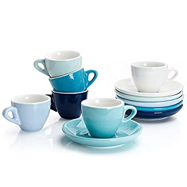 Sweese 4308 Porcelain Espresso Cups with Saucers - 2 Ounce - Set of 6, Cold Assorted Colors