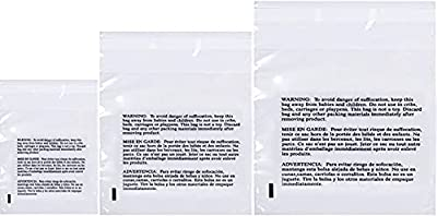 Clear Poly Bags with Suffocation Warning - Combo Packs - 6x9, 8x10, 9x12, 11x14, 12x18, 14x20, 16x22, 20x24 and 24x28 Sizes