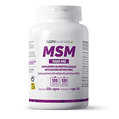HSN MSM 1000 MG Aporta 1g de Metilsulfonilmetano por Cápsula   para 4 Meses   Ayuda para Articulaciones, Cabello y Piel   Vegano, Sin Gluten, Sin Lactosa, 120 Cápsulas
