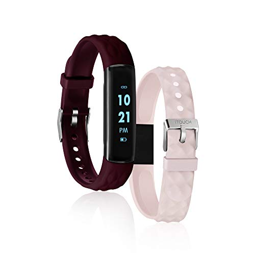 iTouch Slim Fitness Tracker with Heart Rate Monitor, Step Tracker, Calorie Tracker & Sleep Tracker. Waterproof Fitness Watch for Women & Men, Android & iOS, Burgundy/Blush Interchangeable Straps