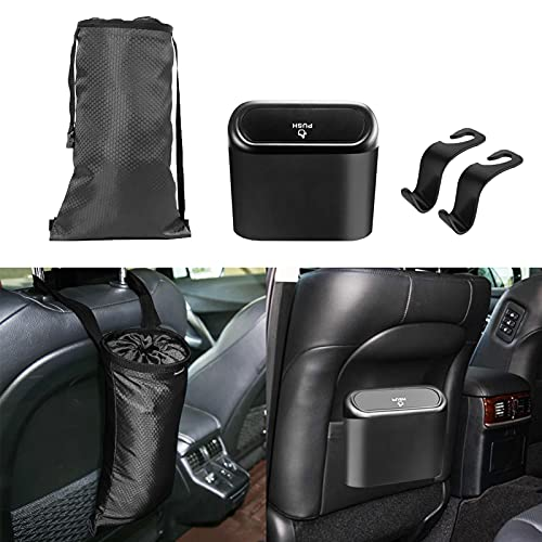 Mini Car Trash Can Plastic with Lid, Waterproof Small Car Garbage Can, Auto Small Car Door Trash Can Accessories, Vehicle Car Trash Container Bin, with Mini Car Trash Garbage Bag Hanging for Women Men Black(6.3x2.6x5.5IN)