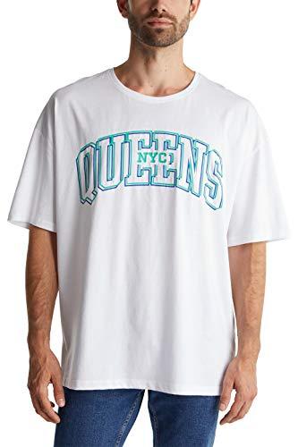 edc by ESPRIT Herren 020CC2K318 T-Shirt, 100/WHITE, L