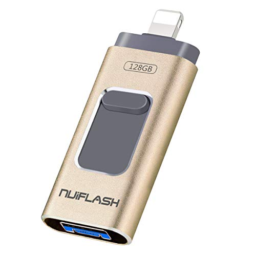 USB Flash Drive 128GB for iPhone Photo Stick Mobile iPhone USB 3.0 Thumb Drive [3 in 1] Memory Stick nuiflash Jump Drive Compatible for iPhone/iPad/PC/Android(128GB-Gold)