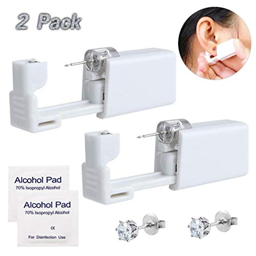 Ear Piercing Gun - Silmy 2 Pack Safety Ear Piercing Kit Disposable Self Ear Piercing Gun with Ear Stud and Alcohol Pad Asepsis Pierce Kit Tool for Nose Studs Cartilage Tragus Piercing Gun