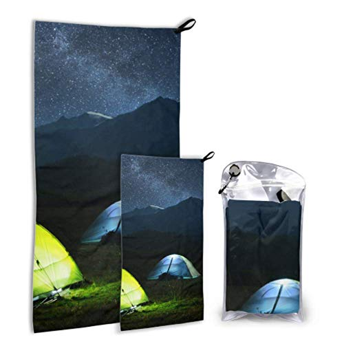 AIKENING Tent Shines Under Stars-Filled Night Sky 2 Pack Microfiber Large Beach Towel Shower Towel Set Fast Drying Best for Gym Travel Backpacking Yoga Fitnes