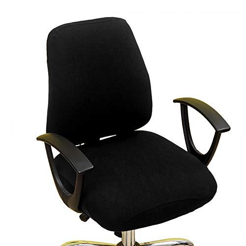 Bürostuhl Bezug Bürostuhlabdeckung Stuhlhussen Drehstuhl Bezug Stretch Office Computer Stuhlbezug Lehnstuhl Abdeckung Husse Bezug Universal Sessel Schreibtischstuhl Überzug Sitzbezüge (Schwarz)