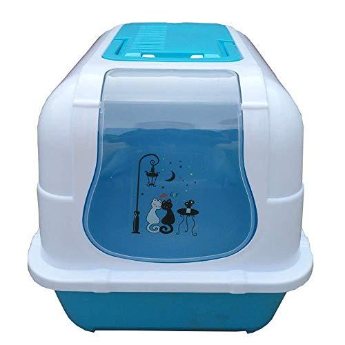 Trainingsplaat, Pet Toilet Huisdieren Geurcontrole Grote Ingesloten Kattenbak Pan Met Geurdeur En Handvat Huisdieren Toilet Kat Toilet Hond Toilet (Kleur : Blauw, Maat : 50 * 37 * 40cm)