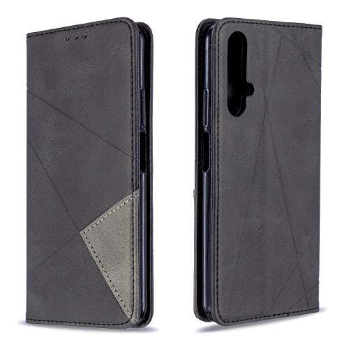 Hülle für Huawei nova 5T / Honor 20 Lederhülle Flip Tasche Klappbar Handyhülle mit [Kartenfächer] [Ständer Funktion], Cover Schutzhülle für Huawei nova 5T - JEBF090390 Schwarz