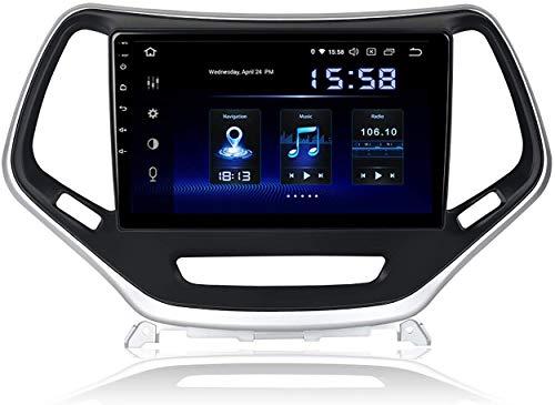 MIVPD Android 10.0 Coche Estéreo GPS Unidad de la Unidad Navegación para Jeep Cherokee 2014-2016 10.2 Pulgadas IPS Pantalla táctil Auto Sat Sat SWC Online/Offline Map Multimedia Player, 4 + 64GB