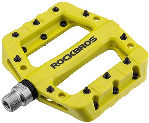 ROCKBROS Fahrradpedale Nylon Composite Flatpedale 9/16 Mountain Bike Pedale 3 Bearing rutschfest Wasserdicht Anti-Staub (Gelb Grün)
