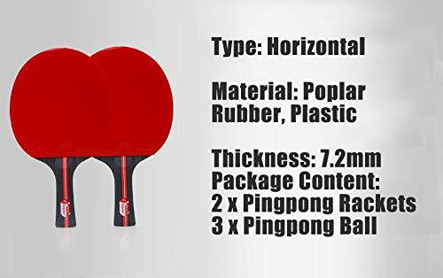 JINSUO DXXLD 2pcs / Lot Tischtennisschläger Racket Double Face Pickel In Long Short Griff Ping-Pong Paddel-Schläger Satz mit Beuteln 3 Bälle