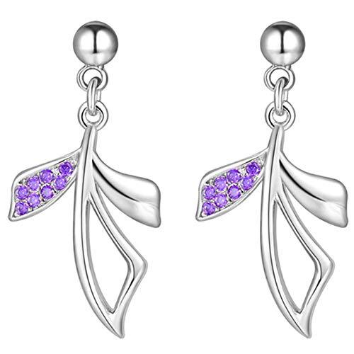 Daesar Pendientes Chapado en Oro Blanco Pendientes Mujer Plata Hoja con Irregular Circonita Púrpura