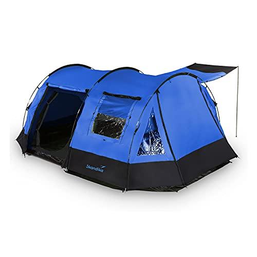 skandika Kambo Tunnelzelt für 4 Personen | Zelt mit Schlafkabine für 4 Mann, Wasserdicht mit 3000 Wassersäule, 3 Eingänge, Sonnendach, Vorzelt | Campingzelt in blau
