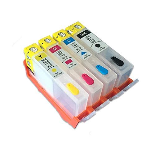 WSCHENG 4 UNIDS Cartucho de Tinta Recargable para HP 364 XL para HP Pro 3070A 3520 3522 4620 4622 5511 5515 5515 5515 5522 Impresora con Chip