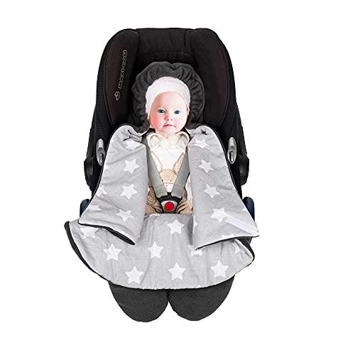 SWADDYL ® Fußsack Einschlagdecke I Baby Wintersack I Babydecke für Babyschale, Kinderwagen - für Winter aus Fleece (Sterne Grau)
