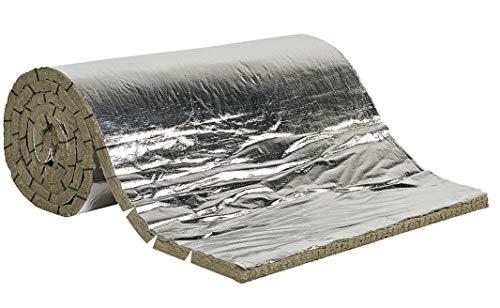 FUTURAZeta - Isolamento Alte Temperature Materassino Ignifugo RIvestimento Canna Fumaria spessore 25 mm. Feltro Lana di Roccia + Alluminio