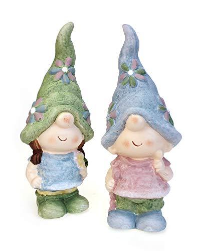 Deko Figur Gartenfigur Wichtel Mädchen Junge im Set je 19 cm, Polystein pastell Wetterfest, Gartendeko Gartenzwerg Schlafmützen-Wichtel stehend