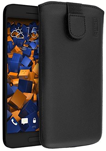 mumbi Echt Ledertasche kompatibel mit HTC 10 Hülle Leder Tasche Case Wallet, schwarz