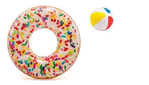 Lustiger Donut bunt Badering Schwimmring Schwimm Ring Schwimmreifen Reifen Swim Ring Schwimmreifen aufgeblasen ca. 114 cm, PVC Folie ca. 0,25 mm super Schwimmspass Kinder Spass