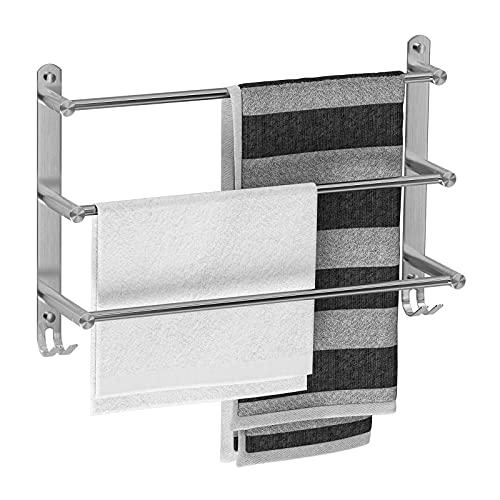 Handtuchhalter Bad Wandmontage 304 Edelstahl Gebürstet Badetuchhalter 60 CM Handtuchstange 3-lagiger Badetuchstange Handtuchhalter für Badezimmer Küchen Toilette
