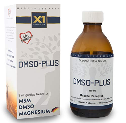 X1 DMSO-PLUS | DMSO-Komplex mit MSM und Magnesium | DMSO mit 99,9% pharmazeutischer Reinheit | Dymethylsulfoxid ph. EUR | in Braunglasmedizinflasche | Made in Germany