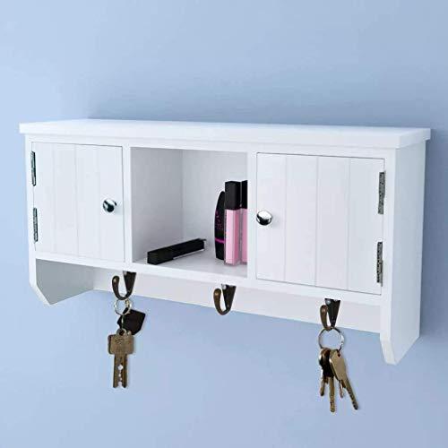 Części maszyn Szafka ścienna Biała szafka ścienna Szafka wisząca z drzwiami i haczykami na klucze Portfele na biżuterię Okulary przeciwsłoneczne 40 x 8,5 x 20 cm