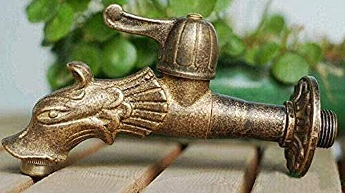 Grifo de jardín Grifo de lavabo Dragón Forma de animal Jardín Bibcock Estilo rural Grifo de dragón de bronce antiguo con grifo exterior E para jardín