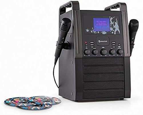 auna KA8P-V2 BK  araoke Anlage  inder Karaoke Player  araoke Set   x Karaoke-CD   x Mikrofon  autsprecher  ideo-Ausgang  D+G-Player  D-Player  P3-f g  cho  UX  chwarz