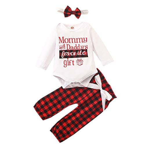 3 Piezas Conjunto Navidad Bebe Niña Mi Primera Navidad Traje Manga Larga Mono+Pantalones+Diadema Disfraces Navideños Bebes