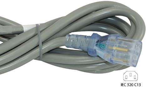 Conntek 25228 15-Amp 125-Volt Hospital Grade//Green Dot Cord 10-Foot SJT 14//3 105C NEMA 5-15P to IEC 320-C13