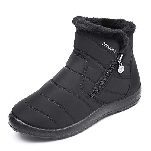 gracosy Warm Snow Boots, Women's Winter Ankle Bootie Anti-Slip Fur Lined Ankle Short Boots Waterproof Slip On Outdoor Shoes Black 9.5 M US
