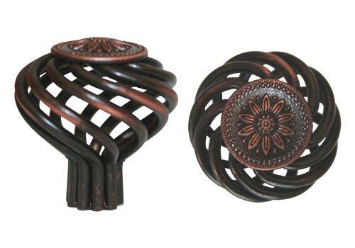 """25 Pack Oil Rubbed Bronze Sunflower Bird Cage Birdcage Birds Nest Twist 1-3/8"""" (35mm) Diameter Kitchen Cabinet Pull Knob 1341-35"""