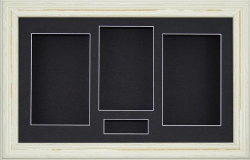 BabyRice 14,5 x 21,59 cm diseño crema de fotos para 3D de recuerdos atrae con diseño de flores de marco de medalla/negro 4 apertura para soporte/protección negra