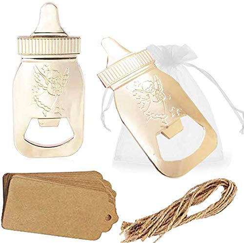 Amajoy Paquete de 30 regalos de regreso de baby shower para invitados suministros Poppin abrebotellas con forma de botella con bolsa transparente, recuerdo de boda, fiesta, decoración de regalo