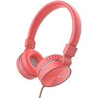 Headphones, GORSUN Microphone Volume Control Folding Lightweight Headset Cellphones Tablets Smartphones Laptop Computer PC Mp3/4(Pink)