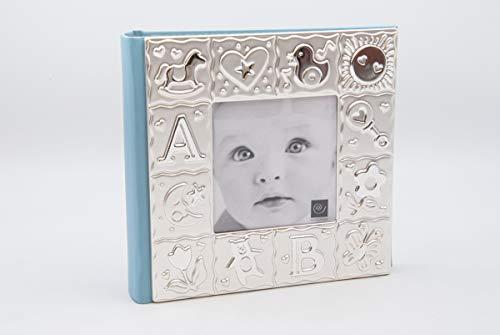 Quadro Album Bambino per 100 foto a tasche, 10 x 15, Celeste/Azzurro, Argento