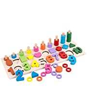 Webby Wooden Educational Learning Numbers and Shapes Puzzle Game for Kids